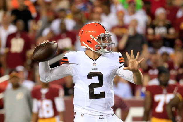 LANDOVER, MD - AUGUST 18: Quarterback Johnny Manziel #2 of the Cleveland Browns drops back to pass during a preseason game against the Washington Redskins at FedExField on August 18, 2014 in Landover, Maryland.
