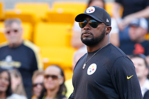 PITTSBURGH, PA - AUGUST 16:  Head Coach Mike Tomlin of the Pittsburgh Steelers looks on during warmups prior to the game against the Buffalo Bills at Heinz Field on August 16, 2014 in Pittsburgh, Pennsylvania.
