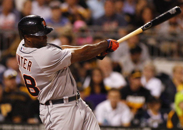 PITTSBURGH, PA - AUGUST 11:  Torii Hunter #48 of the Detroit Tigers  hits a RBI double in the sixth inning against the Pittsburgh Pirates during inter-league play at PNC Park on August 11, 2014 in Pittsburgh, Pennsylvania.