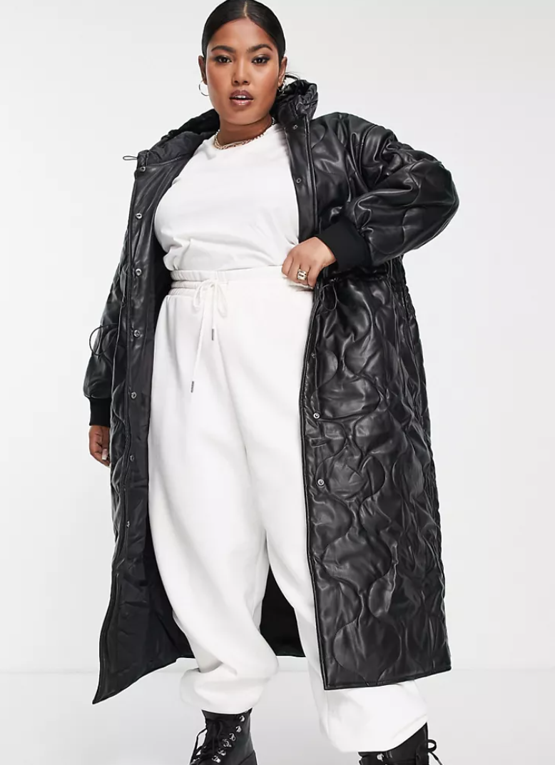 ASOS Design faux leather quilted hooded puffer coat